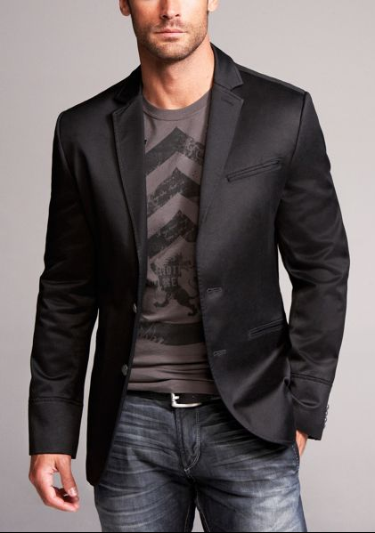 A tee shirt, sport coat, & jeans. You can go almost