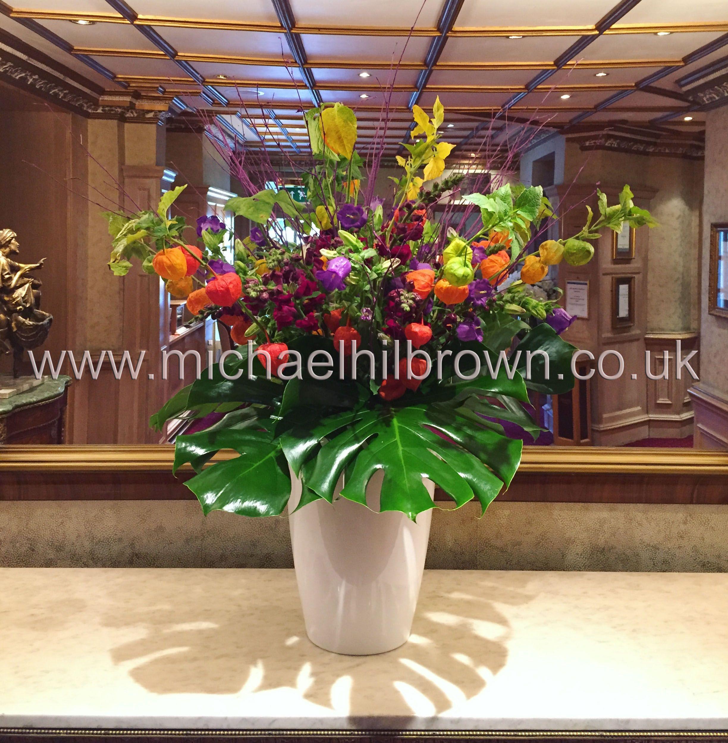 Orange, Purple And Red Hotel Flower Arrangement  Physalis, Campanula