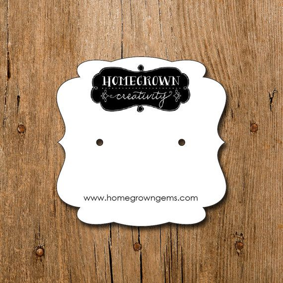 Square Personalized Earring Cards With Your Logo By Homegrowngems