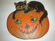 Old Vintage Beistle Halloween Diecut Die Cut Out Cat Jack O Lantern 1932-1950's