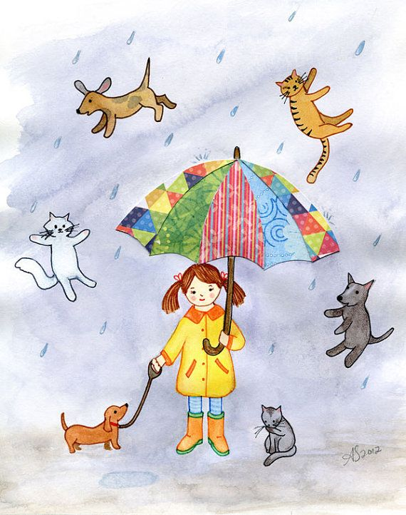It S Raining Cats And Dogs Nursery Wall Art Print 8x10 And 11x14