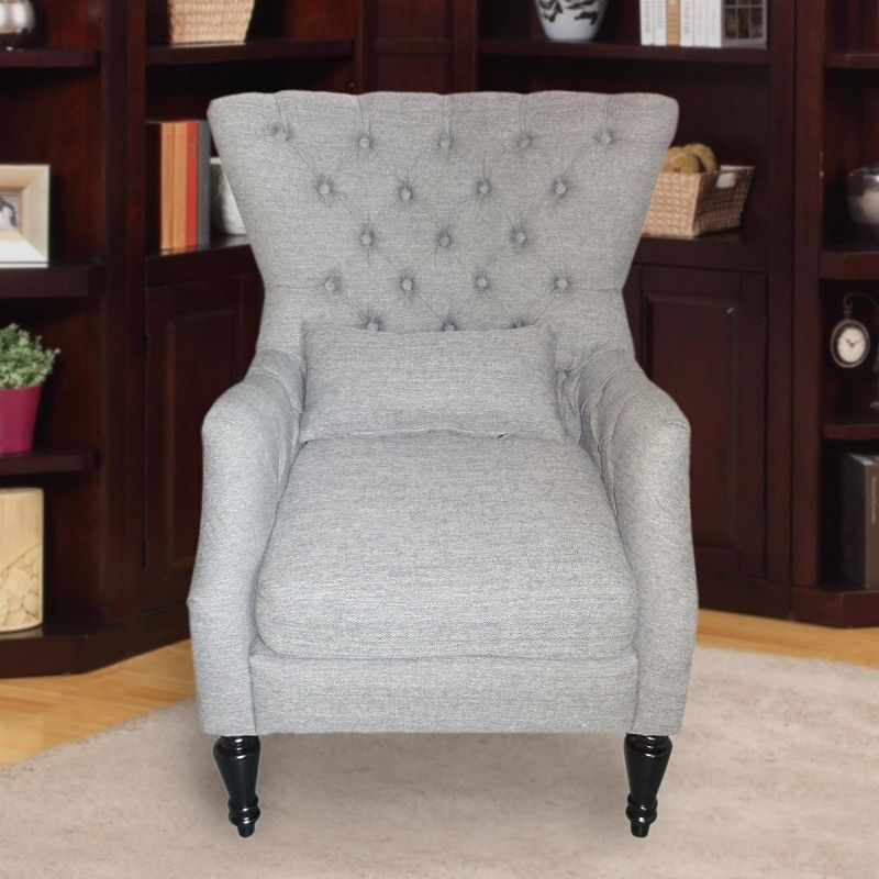 Furnistars Light Gray Tufted Accent Chair