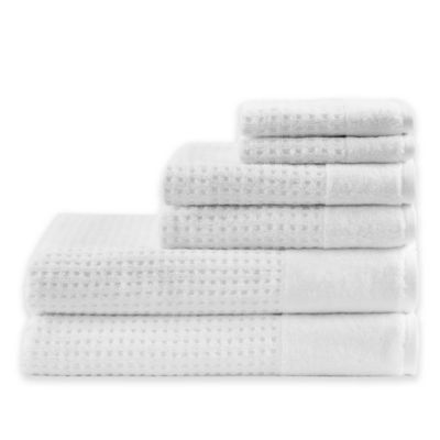 Madison Park 6 Piece Waffle Cotton Bath Towel Set In White Bath