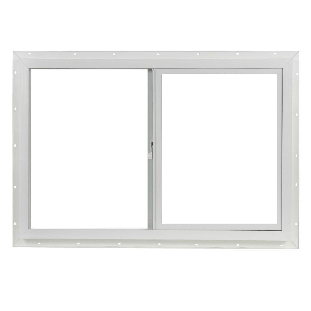 Tafco Windows 35 5 In X 23 5 In Utility Left Hand Single Slider Vinyl Window Single Glass And Screen White Vus3624op The Home Depot Sliding Vinyl Windows Sliding Windows Window Vinyl