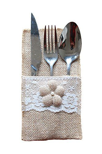 Lemandy 6pcs Vintage Rustic Burlap Cutlery Holder Pouch Wedding