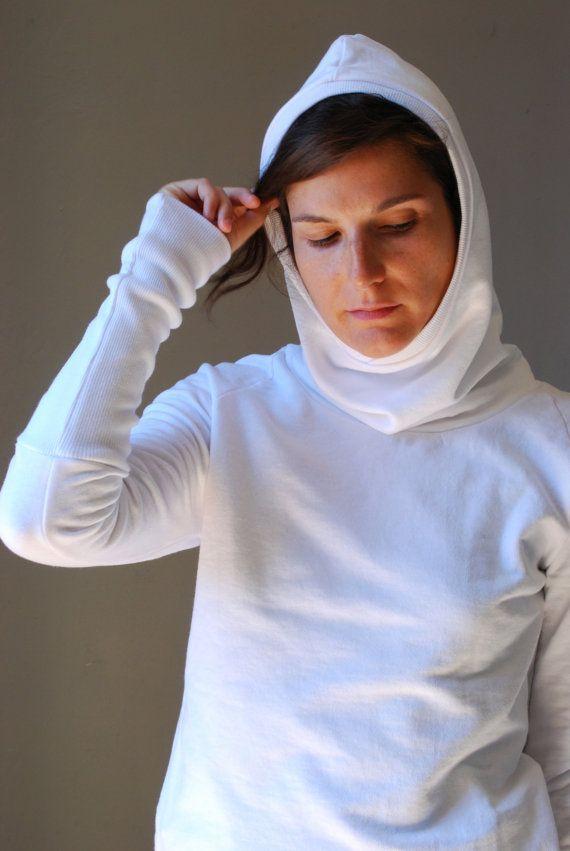 White Hoodie COMET Women sweatshirt Sweater/ by kupukupuapparel