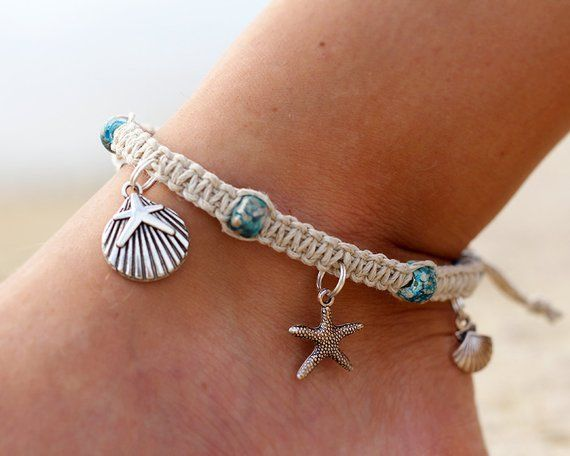 Hemp Charm Anklet Made With Natural Hemp Cord Starfish And Shell Alloy Metal Charms And Glass Crow Beads The Ankle Ankle Bracelets Beaded Anklets Hemp Anklet