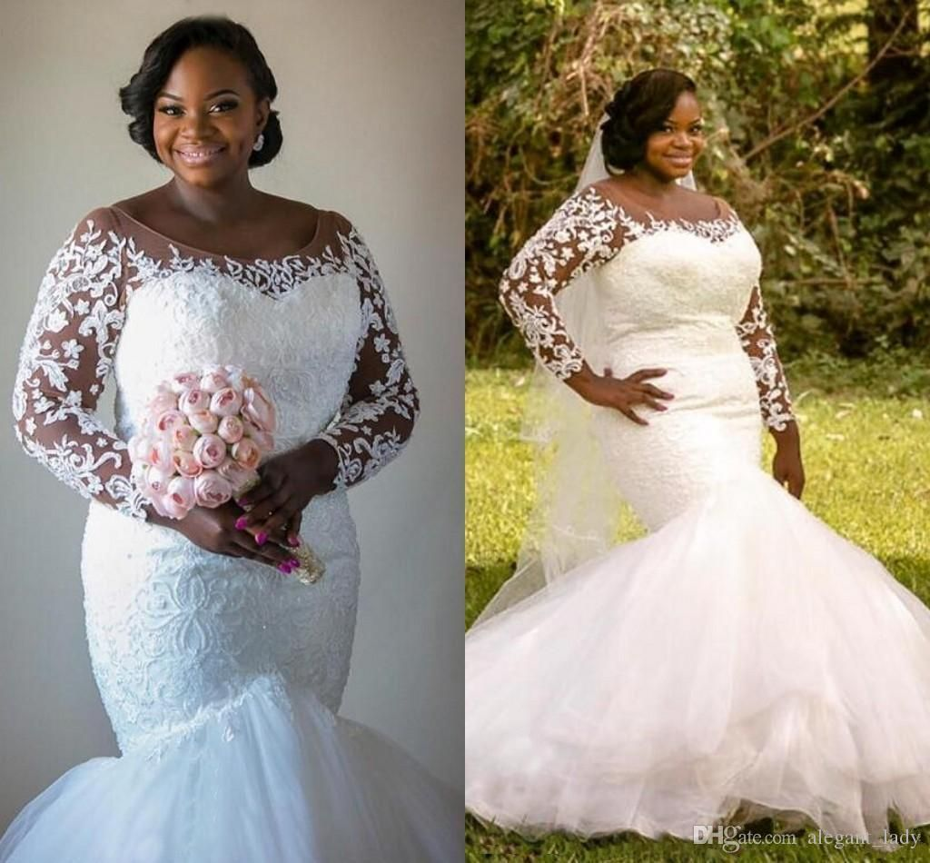 Lace Mermaid 2017 Plus Size Aouth African Nigerian Wedding Dresses Scoop Long Sleeves Beaded Bridal Sexy Vintage Gowns Overskirt Evening