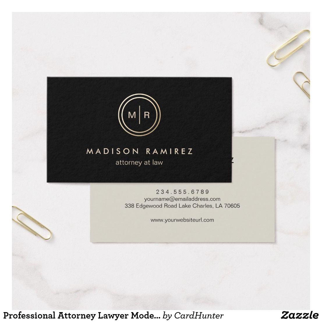Professional Attorney Lawyer Modern Monogram Logo Business Card