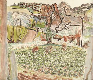 'MEN WORKING IN THE VIOLET FIELDS AT TREMBATH' (1927) by Alec Walker: 'a meeting in 1923 in Paris with Raoul Dufy persuaded him to use his painting skills to design fabrics, transferring his art directly onto silks with the most fabulous results. All Walker's fabrics were block printed in his studio in Cornwall and he managed to get the most vibrant colours on his silks, both in the dyeing and printing.' ✫ღ⊰n