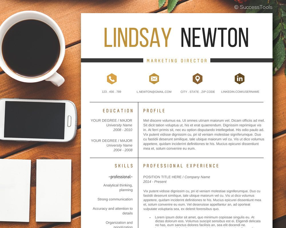 Modern Resume Template with Cover Letter, CV Template ...