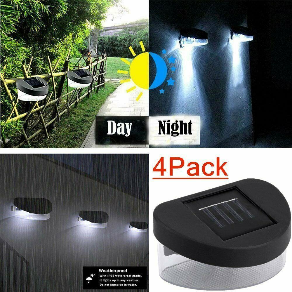 4pcs Outdoor Garden 2 Led Solar Powered Sensor Light Gutter Fence Wall Lamp Be Ideas Of Solar Lamp Solarlamp In 2020 Solar Lamp Wall Lamp Light Sensor
