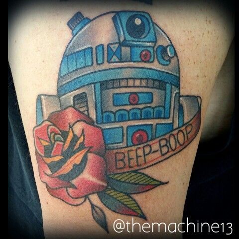 Traditional R2D2 Starwars tattoo by Zack Taylor at Evermore Tattoo Company in Los Angeles, CA
