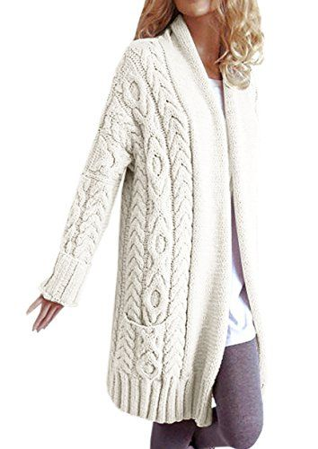 a782436d5f4 Fashare Womens Open Front Chunky Cardigan Cable Knit Long Sleeve ...
