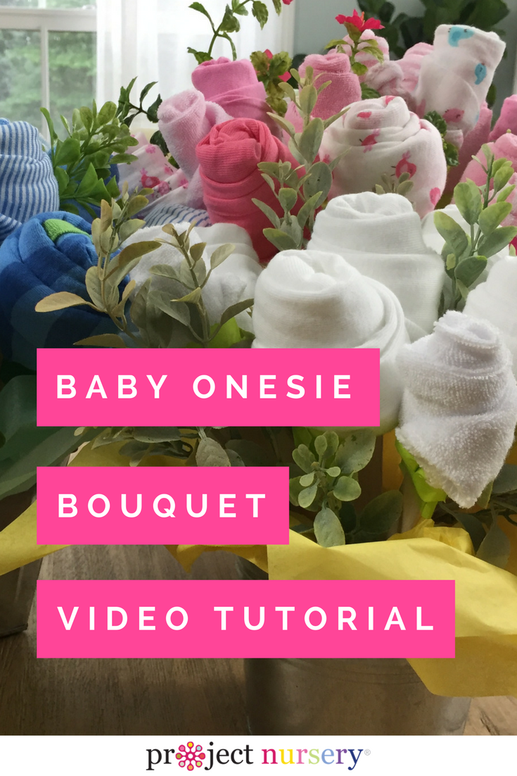 The Sweetest Diy Baby Shower Gift A Washcloth And Onesie Bouquet Project Nursery Diy Baby Shower Gifts Baby Shower Bouquet Baby Shower Diy