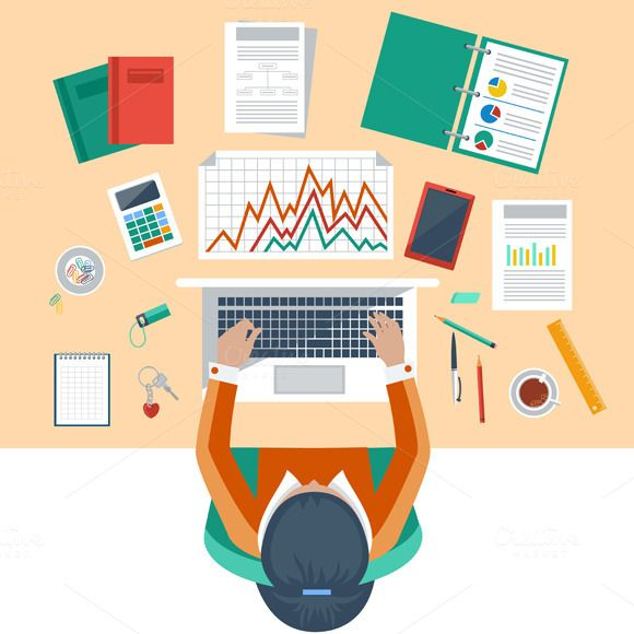 Check out Business woman working with laptop by robuart on Creative Market