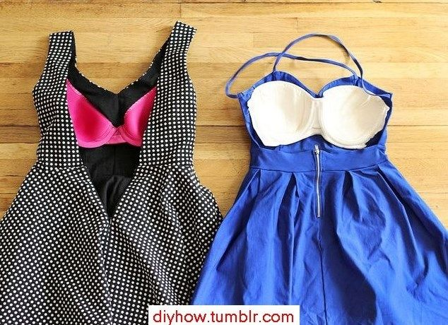 What to do with a backless dress? SEW THE CUPS OF AN OLD BRA IN IT. Duh!