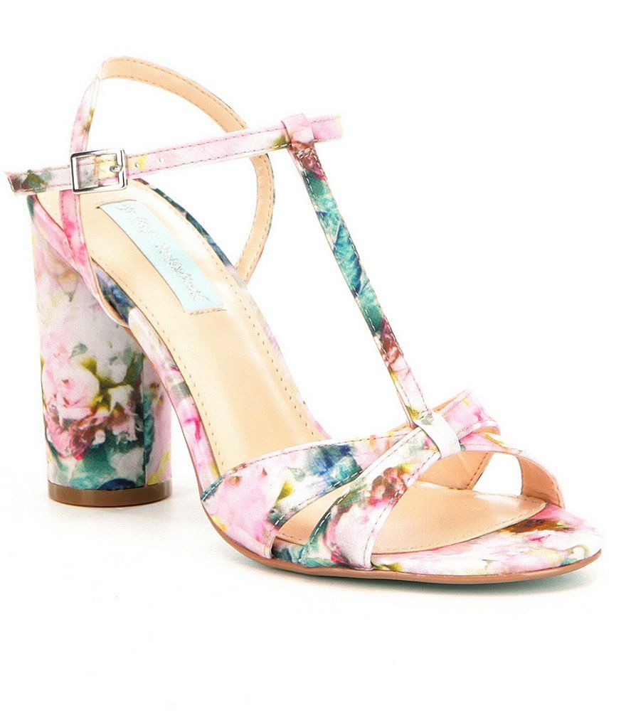 7fc118f924775 Blue by Betsey Johnson Luisa Satin Floral Print T-Strap Block Heel Dress  Sandals