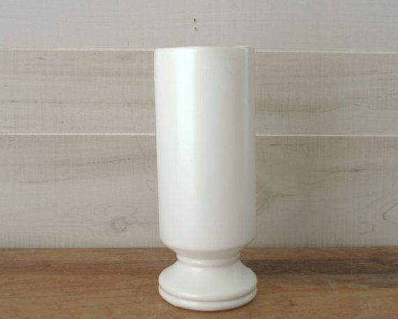 Tall White Ceramic Candle Holder  Tall White by 2ndHandChicc