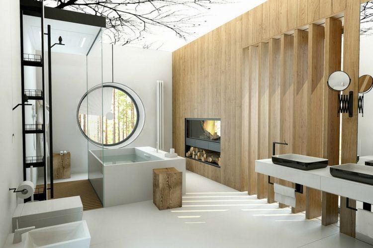 Schicke Badezimmer Einrichtung Badewanne Freistehend Rechteckig Kamin Holz  Regal Schwarze Badezimmer Armaturen #bathroom
