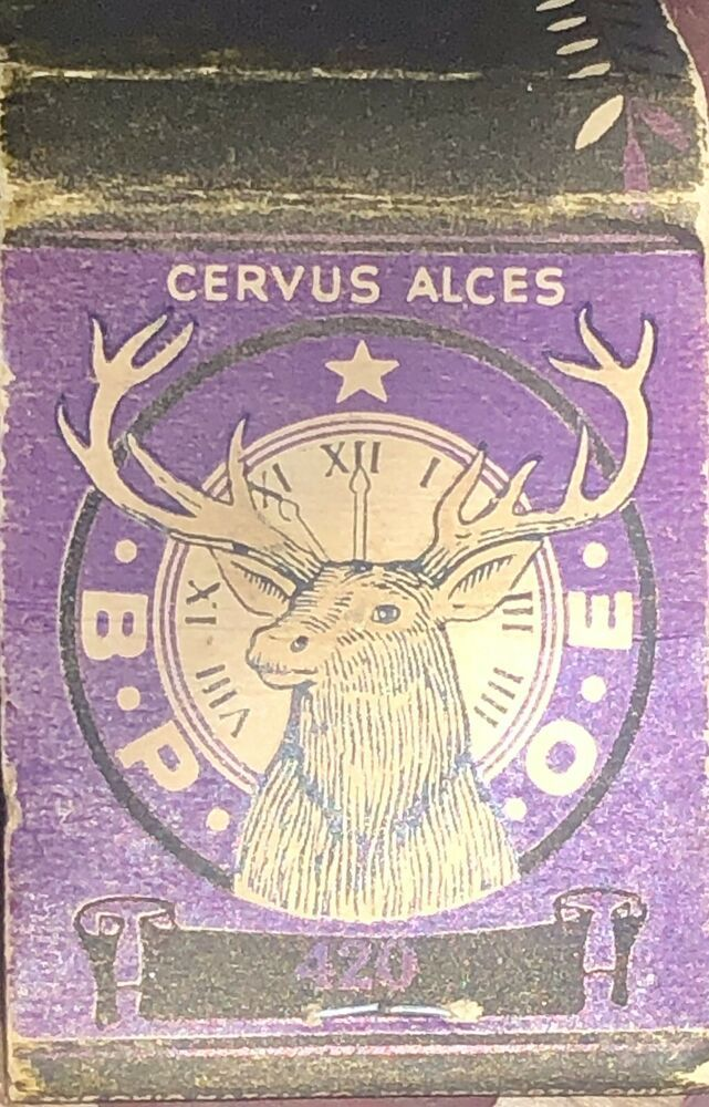 Vintage MATCHBOOK Elks Club BPOE 420 Juneau Alaska Purple