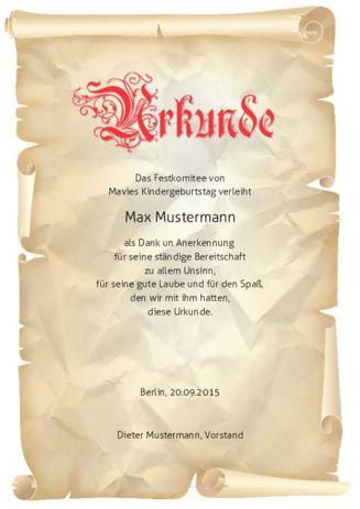 Muster-Urkunde-Pergament zum selbst erstellen. Als pdf ...