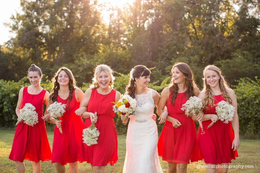 c014c5bd17d bright red bridesmaid dresses ©Grace Hill Photography