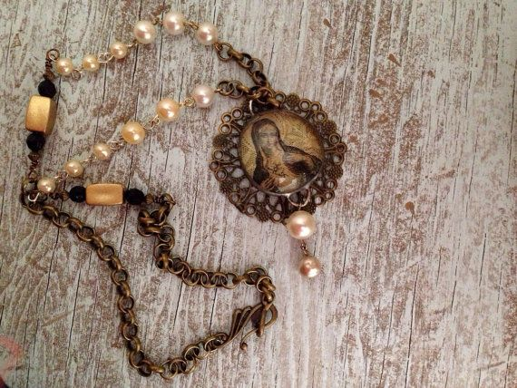 Necklace virgin mary   religious necklace  by Bottleartstudio, $45.00