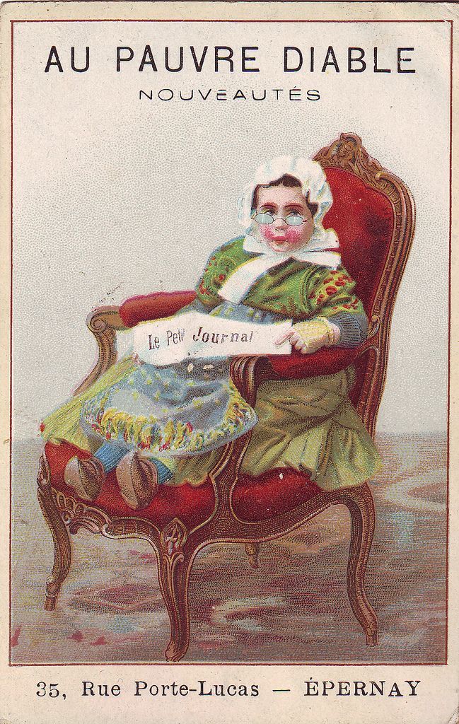 Chromo Au Pauvre Diable Epernay Girl In Chair Reading Newspaper Epernay Reading Painting