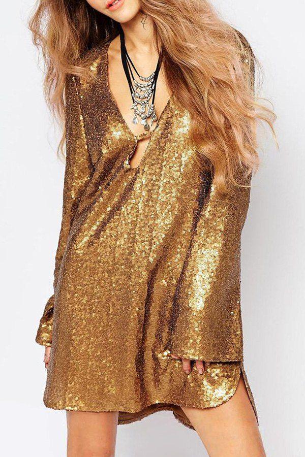 40ebf7c4821 Plunge Neck Flare Sleeve Sequin Glamorous Tunic Dress | sequins ...