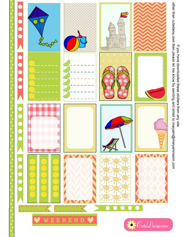 Summer and Beach Stickers for Happy Planner