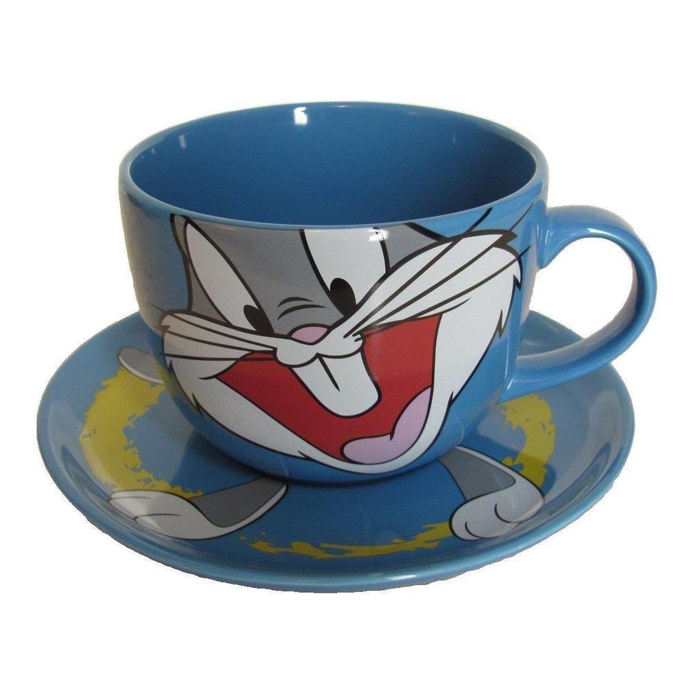 Bugs Bunny Ceramic Oversized Cup And Saucer Blue Warner Bros Large 20 Oz Mug New
