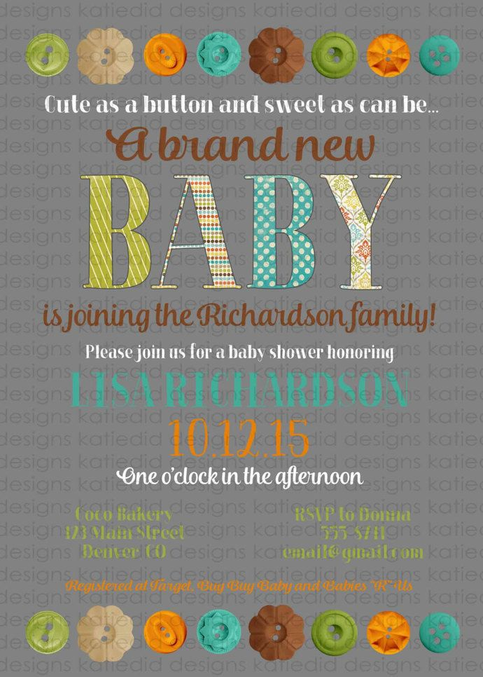 Cute As A Button Baby Shower Invitation Gender Neutral Sprinkle Diaper  Couples