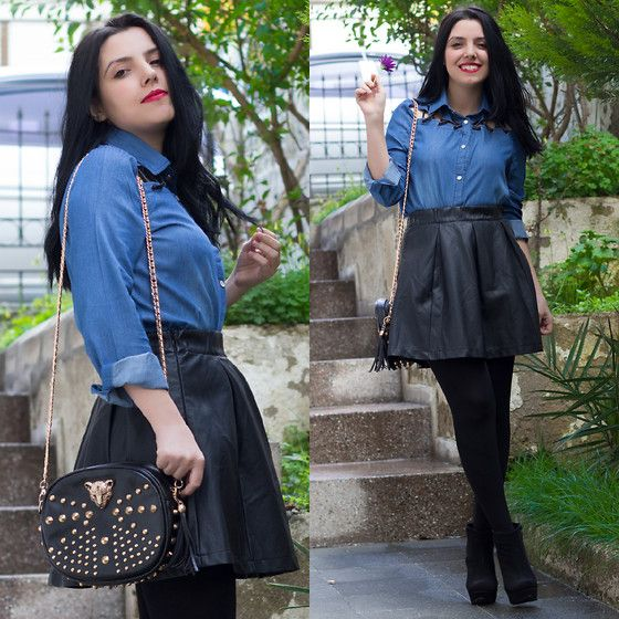 Sheinside Denim Shirt, Sheinside Skirt, Banggood Bag - Denim Shirt - Emel Şendorman