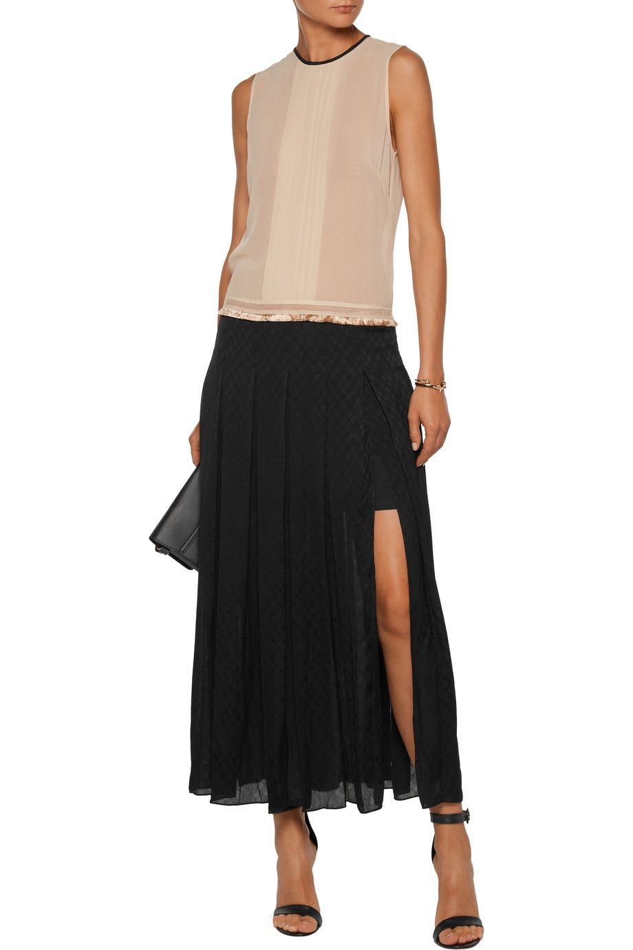 Sandro Woman Hanae Pintucked Pleated Georgette And Jacquard Maxi Dress Black Size 3 Sandro 1aJZM9bHpw