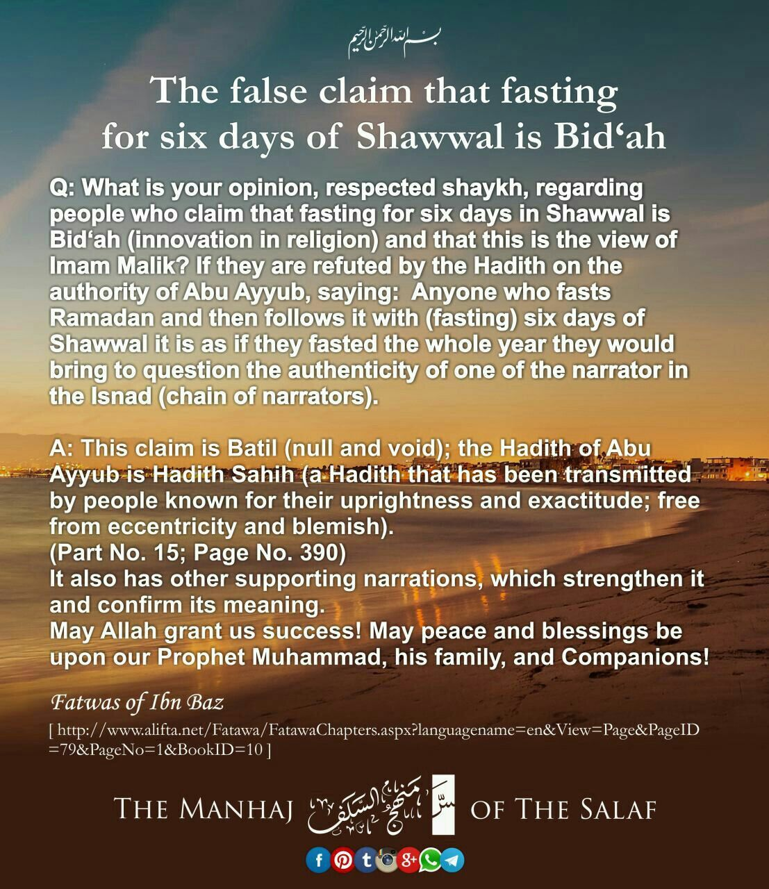 The False Claim That Fasting For Six Days Of Shawwal Is Bid