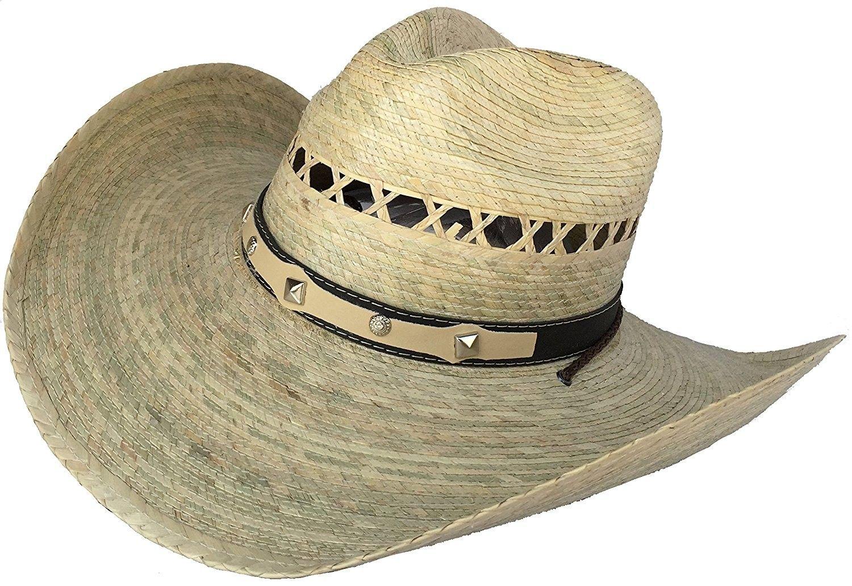 Mexican Palm Western Sombrero Cowboy Hat Safari Sun Lifeguard Gardener SPF  Big Brim - Natural - CH12EXR4819 - Hats   Caps bad6aad1245