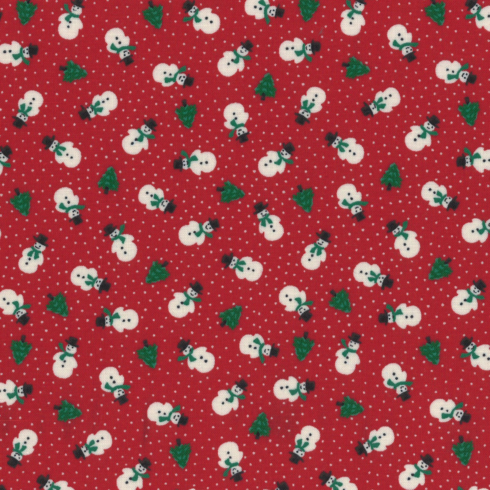 Under The Christmas Red Snowmen Yardage by Lecien Fabrics