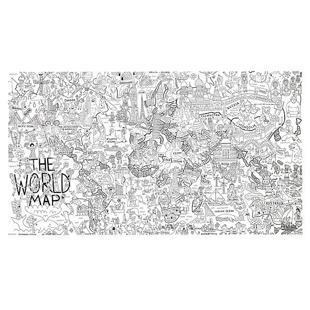 Giant world coloring poster hallway wall decor hallway walls and shop large world map coloring poster the world is a really really big place so we made this giant world coloring poster to help your kid explore it all gumiabroncs Images