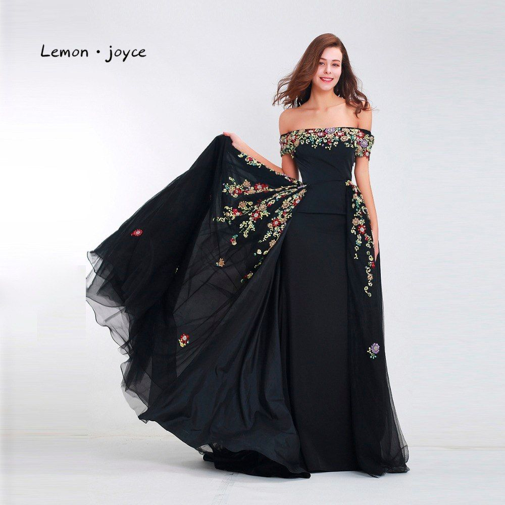 b3d575241e Lemon joyce Black Evening Dresses Long 2019 Elegant Detachable Train ...