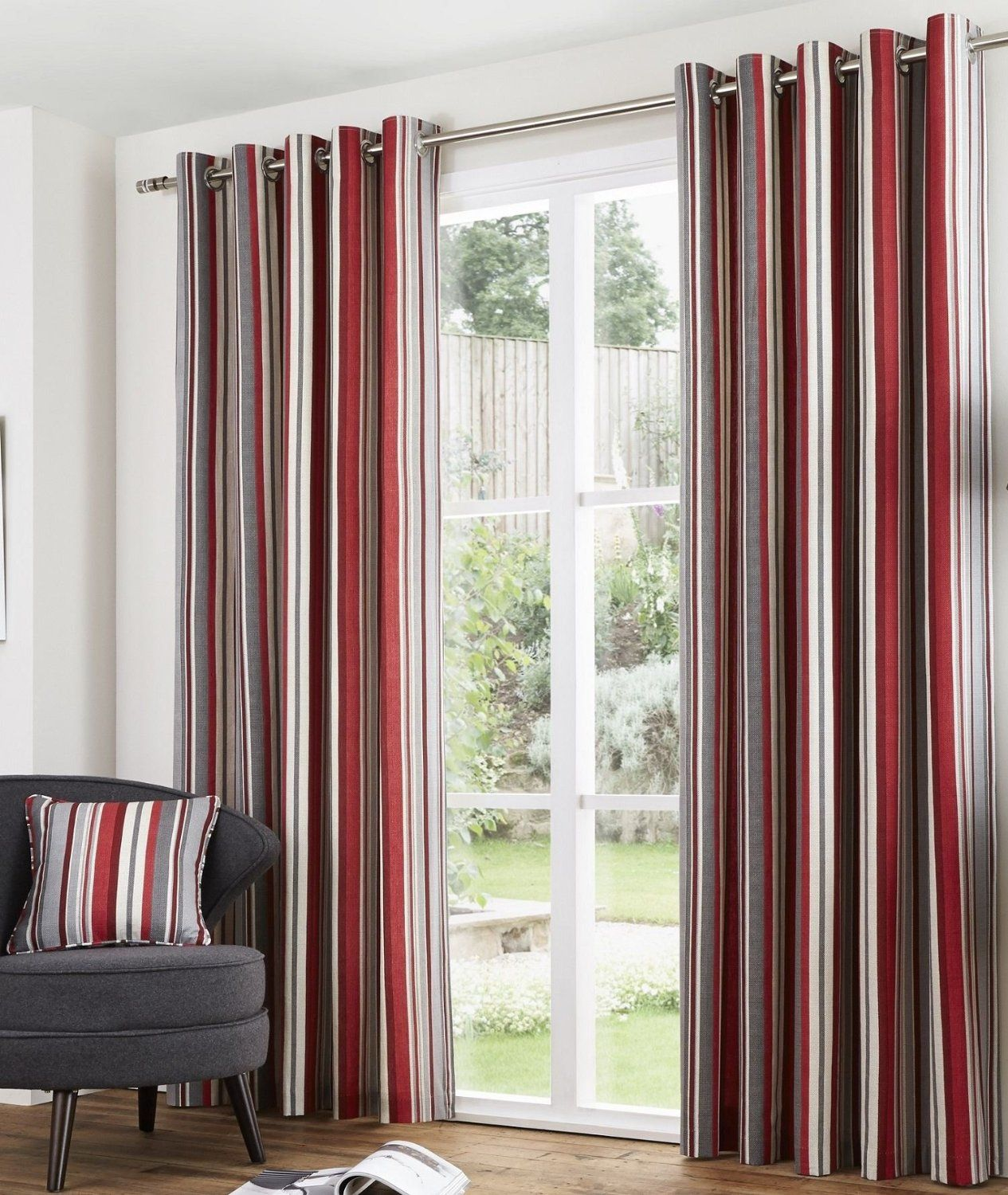 Red and cream window curtains - Melody Eyelet Lined Curtains 66 X 72 Stripe Red Burgundy Cream Grey Ready Made