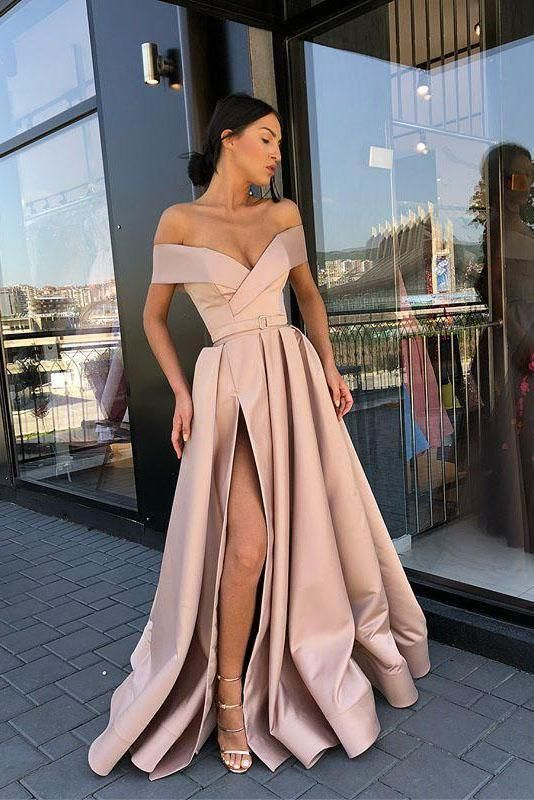 A Line Off the Shoulder V Neck Satin Prom Dresses with High Split Party Dresses