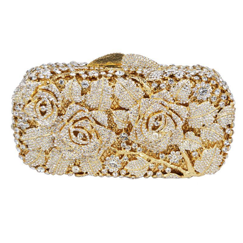f6e2b1af8 Barato Saco da noite de embreagem de cristal de luxo de Ouro rose flor  mulheres bolsa festa nupcial do casamento bolsa bolsa pochette sarau SC013,  ...