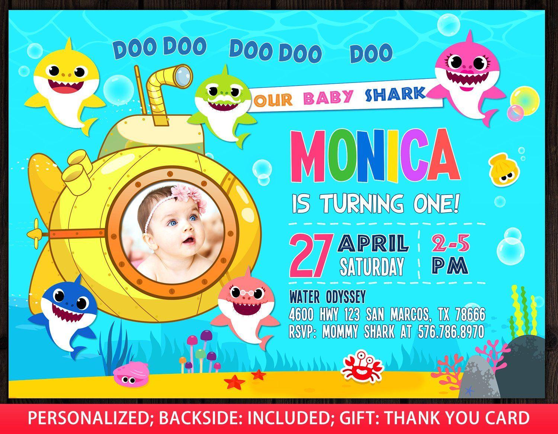 baby shark invitation with photo baby