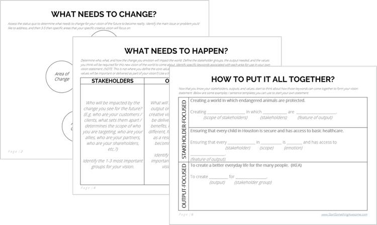 The Free Vision Statement Template Worksheet Vision