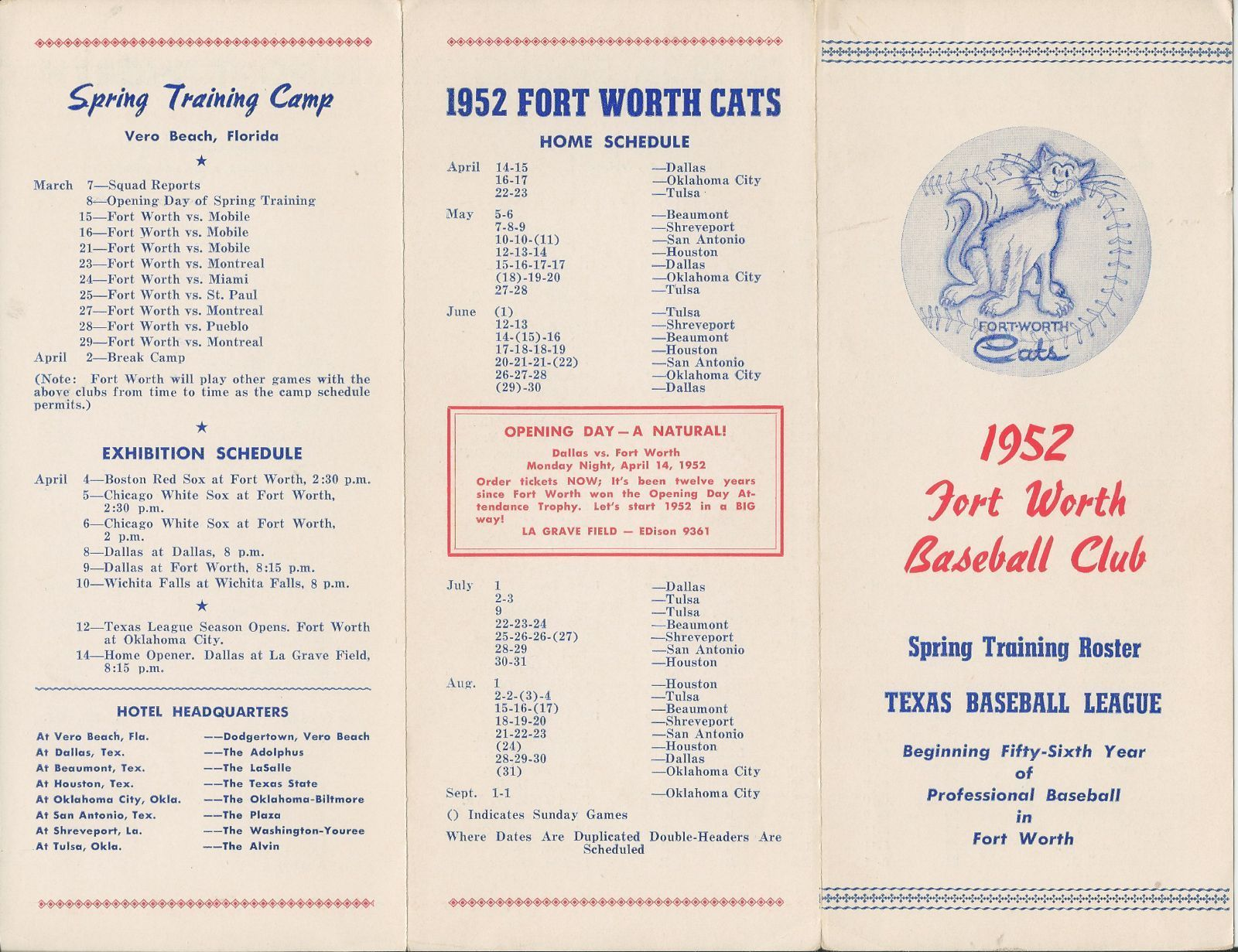 Rare 1952 Fort Worth Cats Texas League Baseball Schedule Spring Training Roster Spring Training Vintage Sports Fort Worth