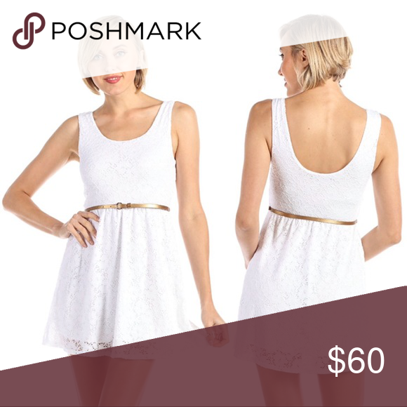 White Lace Belted Tank Dress