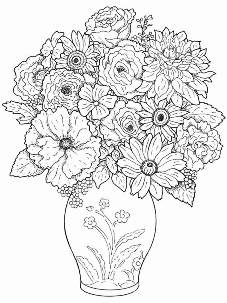 Disegno Di Un Vaso Vaso Con Fiori Fiori Con Petali Pagine Da Colorare Per Adulti Disegni Da Colorare Per Bambini Disegno Di Fiori