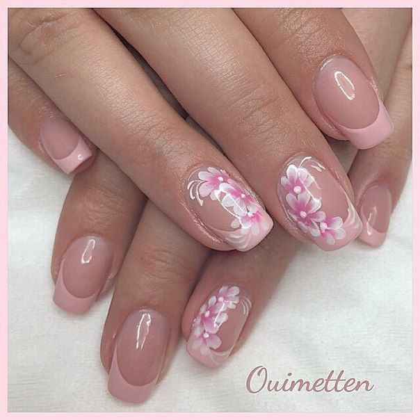 These Pink French Nails With A Flower Decor Look Gently As In Spring Such Design May Suit Each Woman