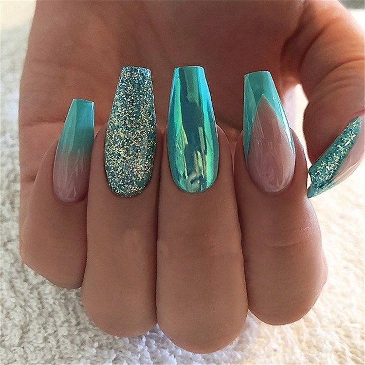 Coffinnails Turquoise Stunning Acrylic Designs Coffin Nails Blue Nail Teal Toptop 55 Stunning Blu Turquoise Nails Turquoise Nail Designs Green Nails